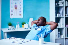 Yawning at workplace Royalty Free Stock Images