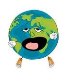 Yawning world globe cartoon Royalty Free Stock Images