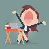 Yawning. Young business woman Royalty Free Stock Photography