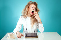 Yawning young girl. Stock Images
