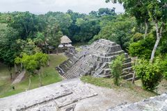 YAXHA, GUATEMALA - MARCH 12, 2016: Ruins of the North Acropolis at the archaeological site Yaxha, Guatema. La royalty free stock images