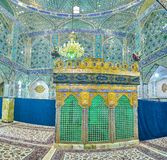 The mirror prayer hall in shrine. YAZD, IRAN - OCTOBER 17, 2017: Holy Shrines of Iran boasts beautiful interior decorated with small pieces of glass, on October Stock Image