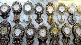 Clocks in the store stock video