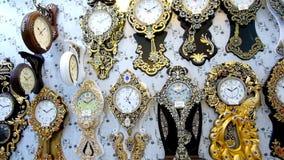 Wall clocks in Yazd Grand Bazaar, Iran stock footage