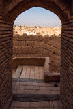 Yazd .Iran. The town of Meybod, Iran from the the Narin Qal`eh or Narin Castle. Meybod is the major desert city in Yazd Province. The castle is a mud brick fort Royalty Free Stock Photos