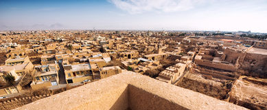 Yazd .Iran. The town of Meybod, Iran from the the Narin Qal`eh or Narin Castle. Meybod is the major desert city in Yazd Province. The castle is a mud brick fort royalty free stock images