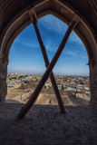 Yazd .Iran. The town of Meybod, Iran from the the Narin Qal`eh or Narin Castle. Meybod is the major desert city in Yazd Province. The castle is a mud brick fort Stock Images