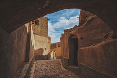 Yazd .Iran. The town of Meybod, Iran from the the Narin Qal`eh or Narin Castle. Meybod is the major desert city in Yazd Province. The castle is a mud brick fort stock photos