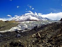 Yazghil Glacier in Shimshal valley, Karakoram, Northern Pakistan. The Yazghil Glacier flows from the peaks of the Hispar Muztagh to the valley of the Shimshal royalty free stock photos