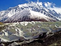 Yazghil Glacier in Shimshal valley, Karakoram, Northern Pakistan. The Yazghil Glacier flows from the peaks of the Hispar Muztagh to the valley of the Shimshal royalty free stock photo