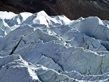 Yazghil Glacier in Shimshal valley, Karakoram, Northern Pakistan. The Yazghil Glacier flows from the peaks of the Hispar Muztagh to the valley of the Shimshal royalty free stock image