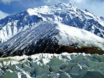 Yazghil Glacier in Shimshal valley, Karakoram, Northern Pakistan. The Yazghil Glacier flows from the peaks of the Hispar Muztagh to the valley of the Shimshal stock photography