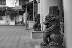 Yazhistandbeeld binnen het Maratha-Paleis in Thanjavur royalty-vrije stock afbeeldingen