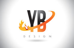 YB Y B Letter Logo with Fire Flames Design and Orange Swoosh. Royalty Free Stock Photo