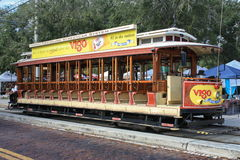 Ybor Trolley. A open side trolley in Ybor city right outside downtown Tampa Stock Photo