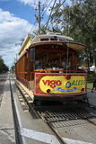 Ybor Trolley. Looking at the front os an open side trolley in Ybor city right outside downtown Tampa Stock Images