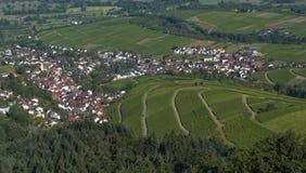 从Yburg的看法到莱茵河valley_Baden Baden,德国 免版税库存图片