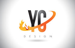 YC Y C Letter Logo with Fire Flames Design and Orange Swoosh. Stock Photography