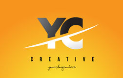 YC Y C Letter Modern Logo Design with Yellow Background and Swoo Stock Photos