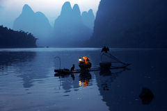 YChinese man fishing with cormorants birds in Royalty Free Stock Images