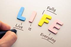 Życie akronim Zdjęcie Stock