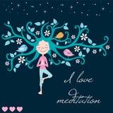 Życie drzewna medytacja i dziewczyna wektor Obrazy Stock