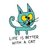 Życie jest lepszy z kotem Zdjęcie Stock