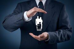 Życie rodzinne polisa i ubezpieczenie Zdjęcia Stock