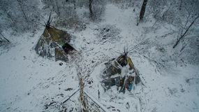 Życie w tipi przy zimą na Ural górze Obraz Royalty Free