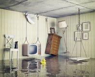 Życie w zalewającym mieszkaniu ilustracja wektor