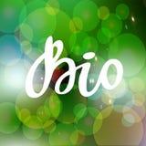 Życiorys ręka rysujący logo, etykietka z zielenią i połysku defocused tło, Wektorowa ilustracja eps 10 dla jedzenia i napoju Fotografia Stock