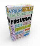Życiorysu słowa produktu pudełka kandydata doświadczenia Najlepszy tło Obraz Stock
