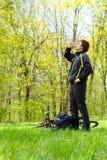 ?yclist löscht den Durst des Trinkwassers Stockbild