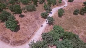 Сyclists aerial surveillance for the travel agency Stock Photo