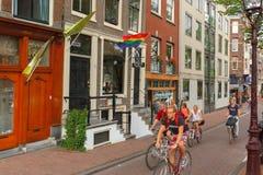 Yclists del ¡de Ð en la calle en Amsterdam Imagenes de archivo