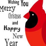 Życzący ci Wesoło boże narodzenia i Szczęśliwą nowy rok kartę z Czerwonym kardynałem Płaski projekt Obrazy Royalty Free