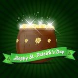 Życzenia na St. Patricks Dzień z garnkiem złoto Zdjęcia Royalty Free