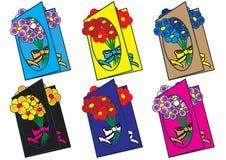 Życzenie z bukietem kolorów kwiaty Fotografia Royalty Free
