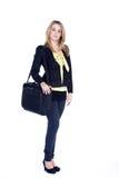 Życzliwa biznesowa kobieta z laptop torbą Obrazy Stock
