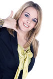 Życzliwa biznesowa kobieta z wywoławczym znakiem Obraz Stock
