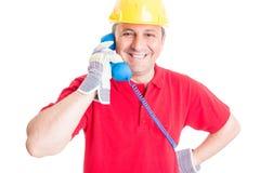 Życzliwej firmy budowlanej kontaktowa osoba Zdjęcia Royalty Free