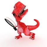 Życzliwy kreskówka dinosaur z powiększać - szkło Obraz Royalty Free