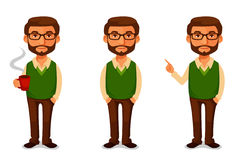 Życzliwy kreskówka facet w przypadkowych ubraniach Obrazy Stock