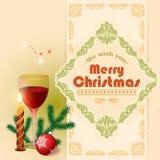 Życzymy wam Wesoło boże narodzenia tekst, szkło wino i arabesk ramy granica, Zdjęcie Stock
