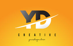 YD Y D Letter Modern Logo Design with Yellow Background and Swoo. YD Y D Letter Modern Logo Design with Swoosh Cutting the Middle Letters and Yellow Background Royalty Free Stock Image