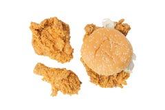 Łydka, klatka piersiowa pieczony kurczak i chipsa kurczak hamburger, Zdjęcia Royalty Free