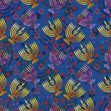 Żydowska tradycyjna wakacyjna chanuka bezszwowy wzoru royalty ilustracja