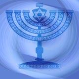 Żydowski tradycyjny candlestick w błękitnym abstrakcjonistycznym projekcie ilustracja wektor