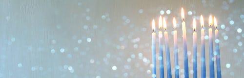 Żydowski Wakacyjny Hanukkah tło z menorah Fotografia Stock