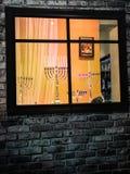 Żydowski wakacyjny Hanukkah tło z menorah tradycyjnymi kandelabrami Fotografia Stock